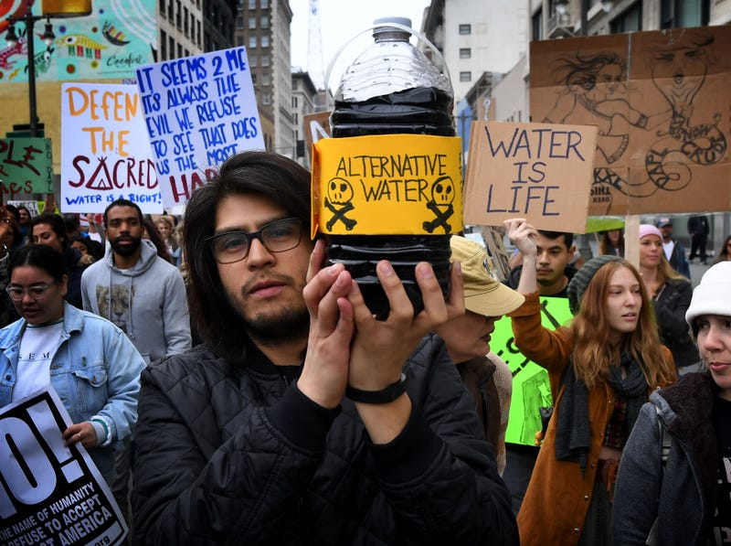 Demonstrators in Los Angeles on Feb. 5, 2017, protest President Donald Trump's executive order fast-tracking the Keystone XL and Dakota Access oil pipelines. (Mark Ralston/Getty Images)