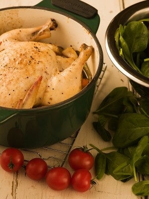 Illustration for article titled Tonight's dinner:  Oven-baked chicken with Spinach and Tomatoes