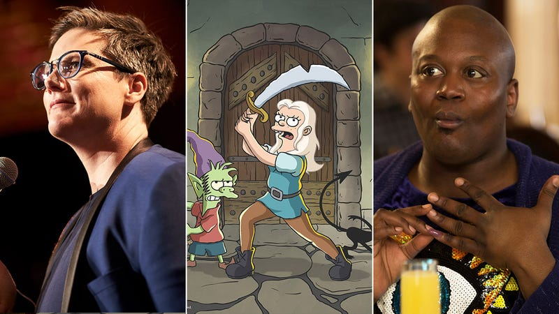 L to R: Hannah Gadsby in Nanette, Disenchantment, Tituss Burgess in Unbreakable Kimmy Schmidt