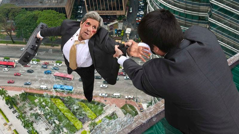 Illustration for article titled 'The Case, Mr. Kerry, Give Me The Case,' Demands Malaysian Ambassador Holding Dangling John Kerry From Petronas Towers Skybridge