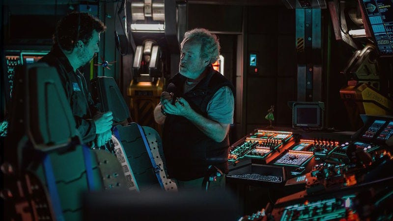 Image: Scott on the set of Alien: Covenant, 20th Century Fox