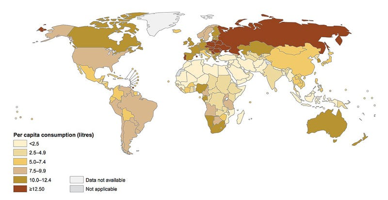 Illustration for article titled ¿Qué países son los que más alcohol beben del mundo?