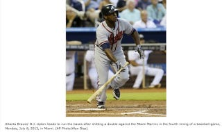 Illustration for article titled B.J. Upton Shits Out A Double, According To Typo