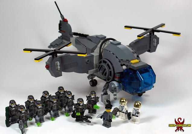 The Fallout vertibird and a squad of power armored-troops made out of ...