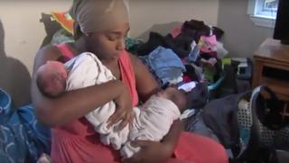 Danesha Couch shown holding her latest twins, Dalanie and DarlaFox 4 News screenshot