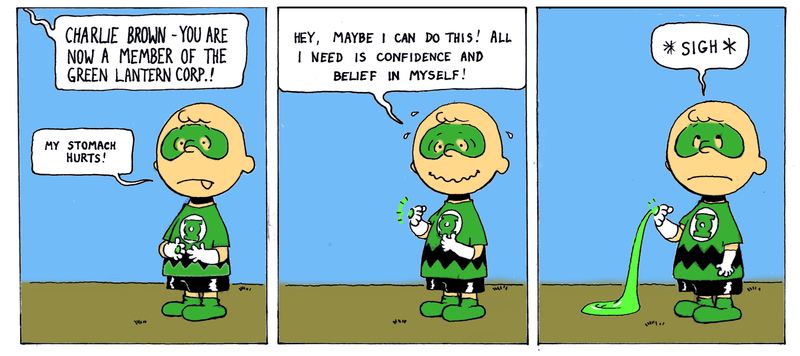 Illustration for article titled What if Charlie Brown was chosen to be a Green Lantern?