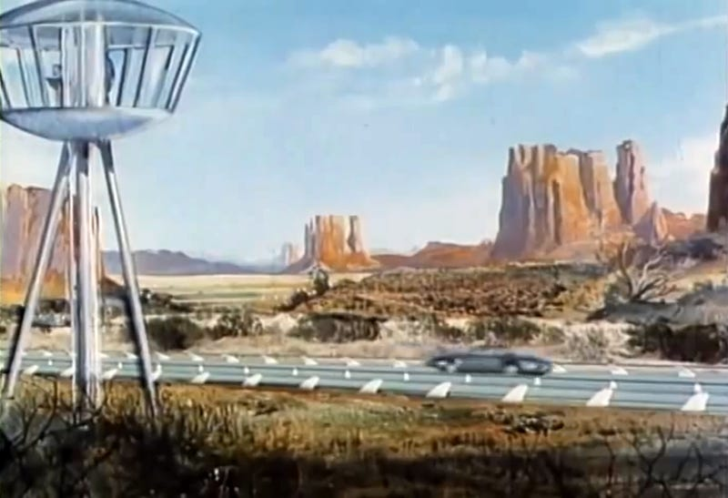 "Screenshot from the 1956 General Motors driverless car film ""Key to the Future"""
