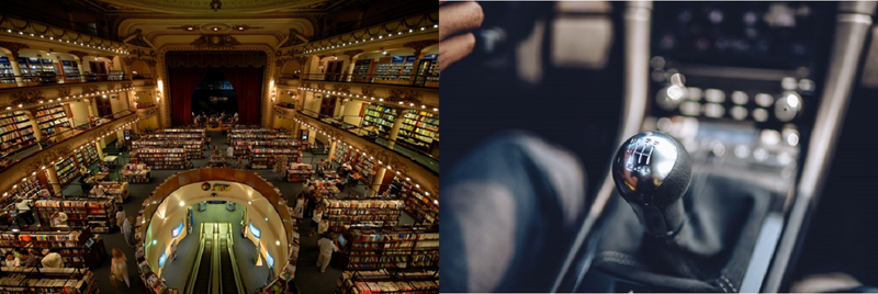 On the left, Argentina's El Ateneo Grand and Splendid Bookstore (image courtesy of pandotrip.com). On the right, the GT3's manual (image courtesy of Road & Track).