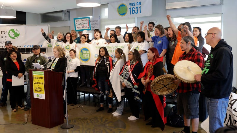 Members of the Yes on 1631 coalition, including members of the Quinault Indian Nation.