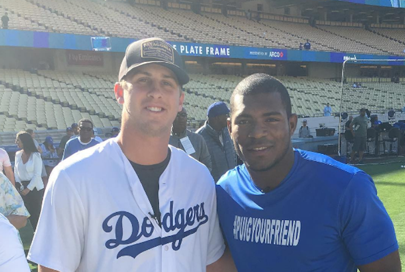 Illustration for article titled Jared Goff Buddies Up With Yasiel Puig, Betrays The Sanctity Of His Takes