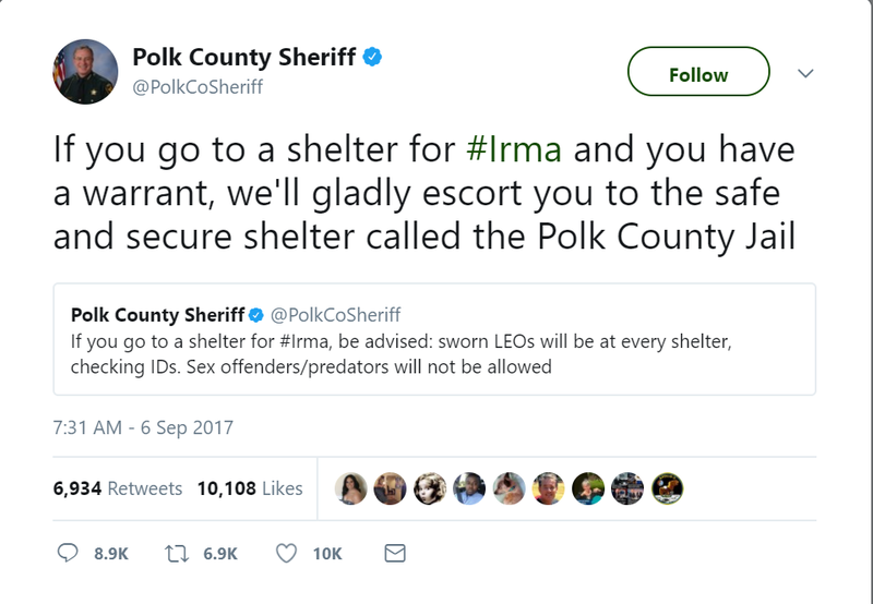 Illustration for article titled Fla. Sheriff Promises to Arrest Anyone With a Warrant Who Comes Looking for Shelter During Hurricane Irma