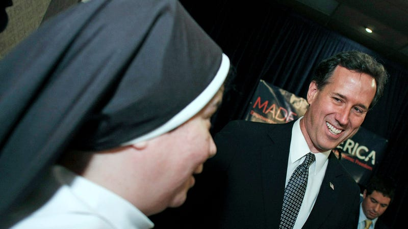 Illustration for article titled Santorum Says Separation of Church and State Makes Him 'Want to Throw Up'
