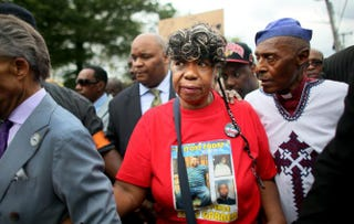 Gwen Carr, mother of Eric Garner, marches during a rally against police violence on Aug. 23, 2014, in the Staten Island borough of New York City.Yana Paskova/Getty Images