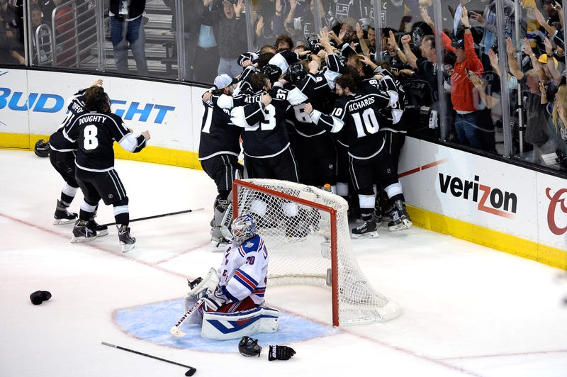 Illustration for article titled The Kings Celebrate Stanley Cup Win Next To Devastated Henrik Lundqvist
