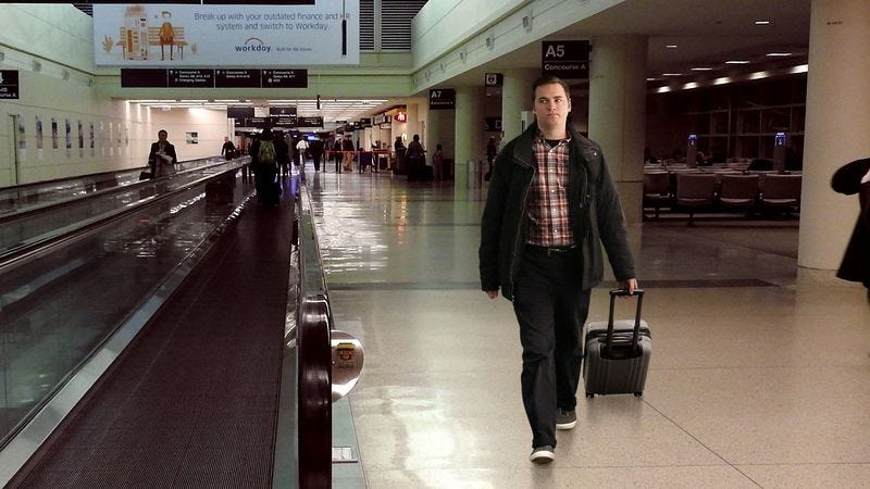 Illustration for article titled Man Who Skipped Airport's Moving Walkway Immediately Realizes What An Arrogant Fool He's Been