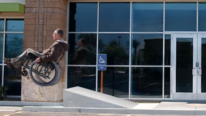 Illustration for article titled Federal Court Ruling Requires Private Businesses To Install Handicapped-Accessible Wheelchair Jumps