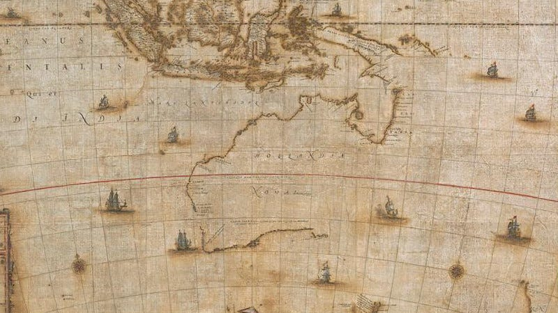 A portion of the Blaeu Map showing the northern, western, and southern contours of the Australian coastline. (Image: National Library of Australia)