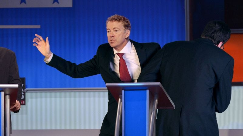 Illustration for article titled Rand Paul Escorted Off Stage After Falling Below 2.5% In Middle Of Debate