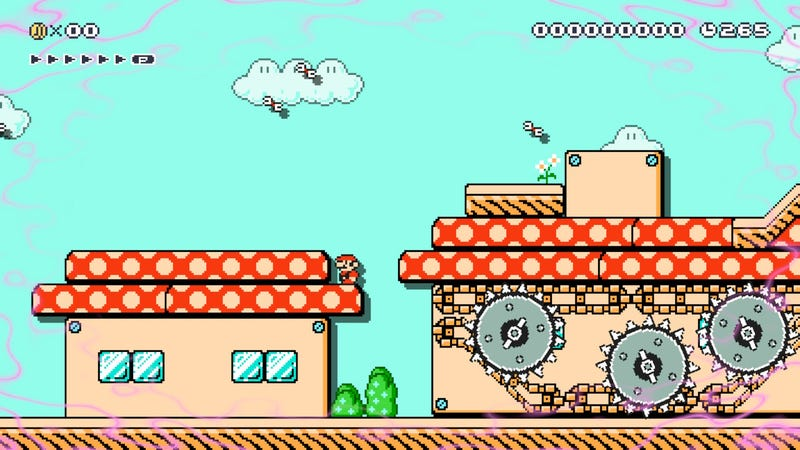 Illustration for article titled A Mario Maker Level Where Mario Has Post-War PTSD