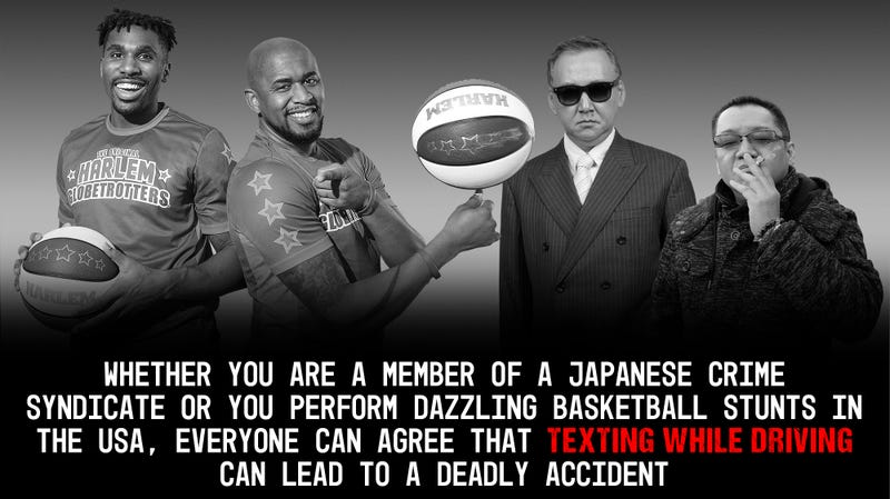 Illustration for article titled Heartwarming: The Yakuza And The Harlem Globetrotters Set Aside Their Differences To Film A PSA Against Texting While Driving