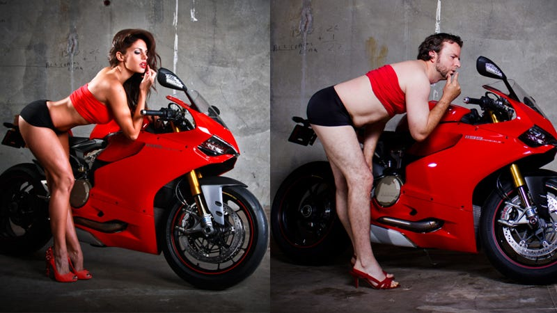 Illustration for article titled Ducati Dealer's Photo Shoot Puts Men In Sexy Motorcycle Poses