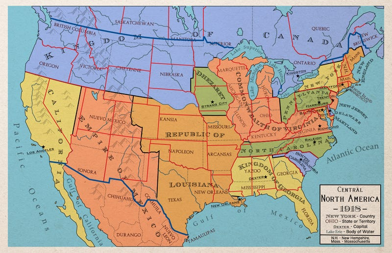 Maps Of An Alternate North America That Never Became The United States - North america map