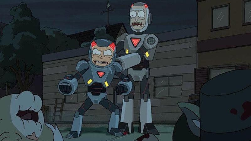 They kind of look like Cyborg here (Screengrab: Rick And Morty/Adult Swim)