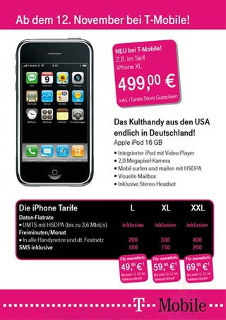 Illustration for article titled Unconfirmed Flyer Shows 3G 16GB iPhone for TMO Germany