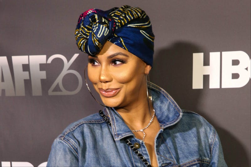 Singer Tamar Braxton attends the Pan African Film Festival red carpet and screening of Marvel Studios' Black Panther on Feb. 14, 2018, in Los Angeles.
