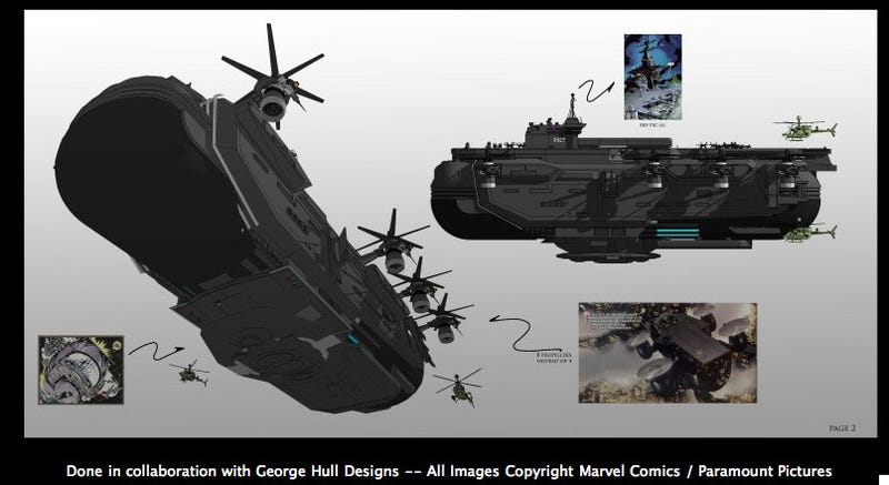 Illustration for article titled Here's your first look at the SHIELD Helicarrier from the Avengers