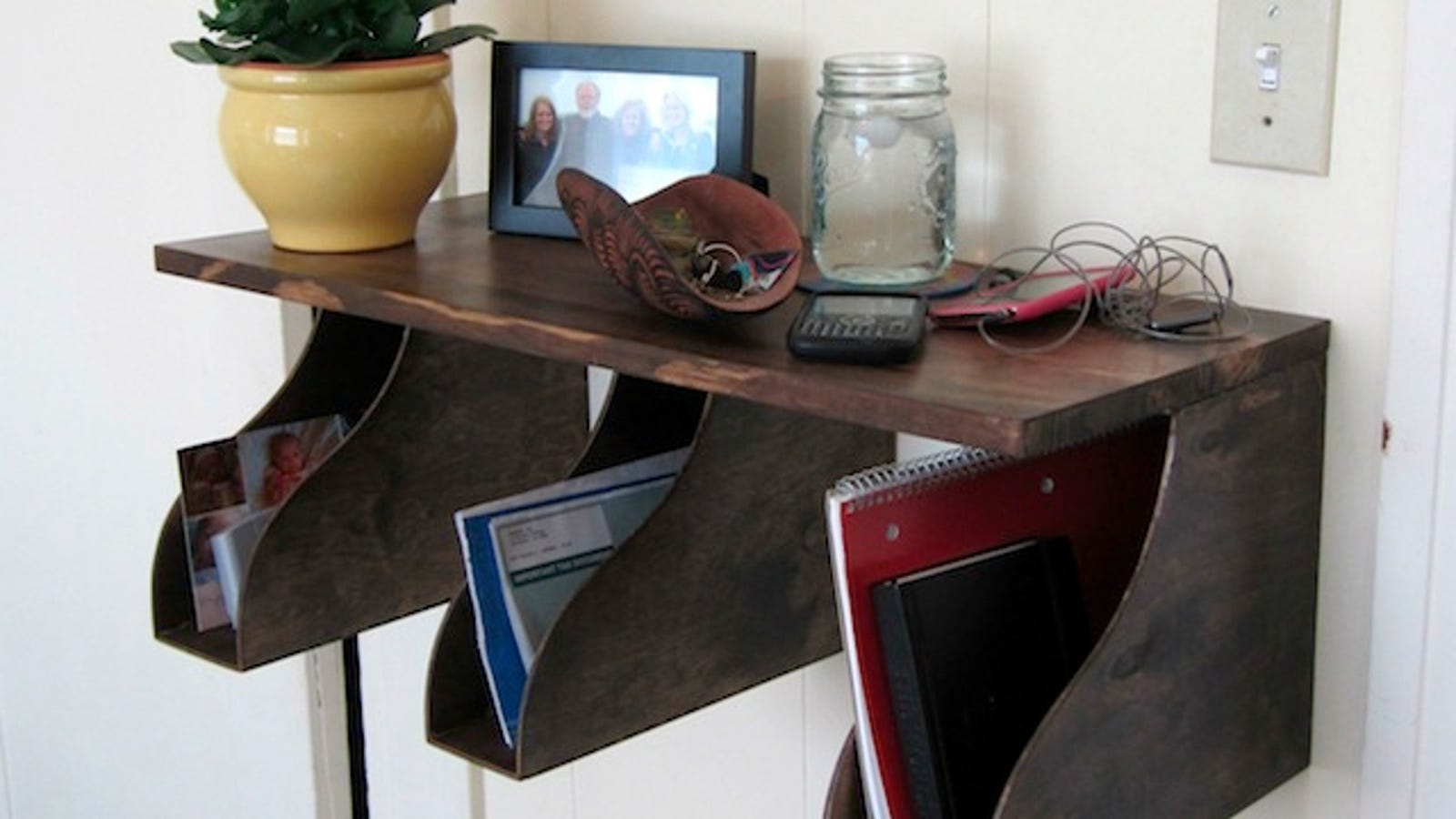 Build A Mail Rack Or Charging Station From Ikea Magazine Holders