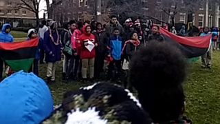 Students walk out of Howard University Middle School of Mathematics and Science to protest on Monday, Feb. 2, 2015.Screenshot/ Jeff Boogz Vine