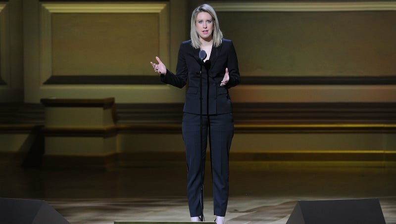 Elizabeth Holmes accepts The Entrepreneur award at the 25th Annual Glamour Women of the Year Awards at Carnegie Hall in November 2015. Photo via AP.