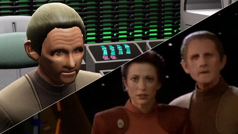 Odo as he appears in Star Trek Online, and alongside Kira in Deep Space Nine.
