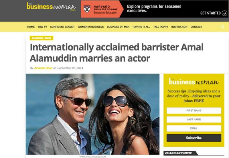 Illustration for article titled The Best Headline About Amal Alamuddin and George Clooney's Wedding