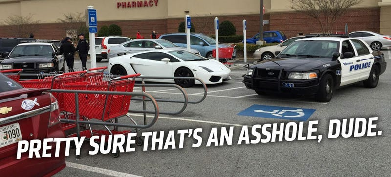 Illustration for article titled Lamborghini Asshat Blocks Handicapped Spots, Gets Boxed In By Cops