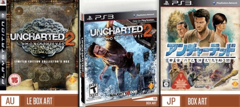 Illustration for article titled Uncharted 2 Western Box Art Vs. Japanese Box Art