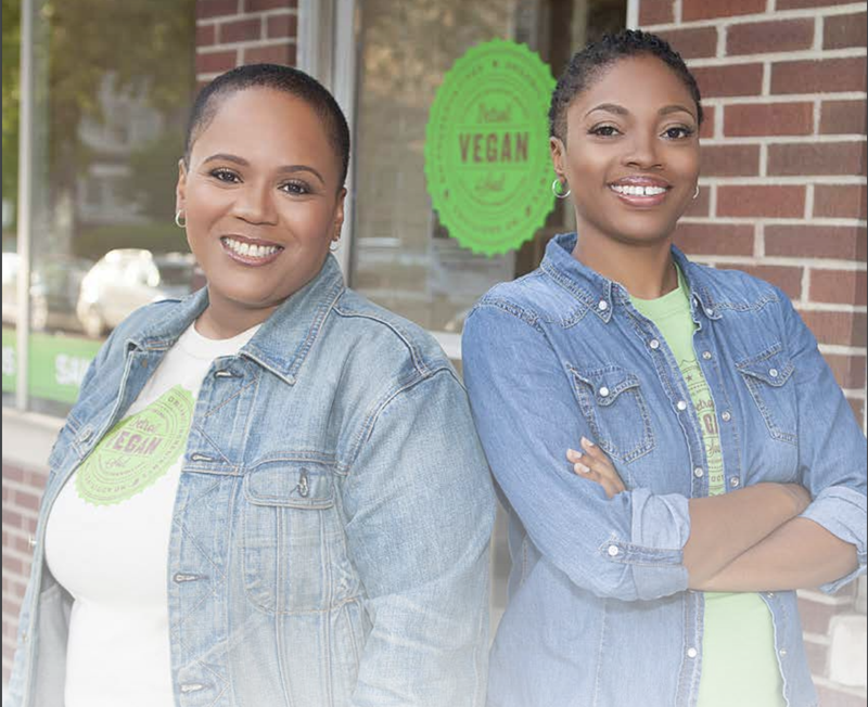 """Restaurateurs Erika Boyd and Kirsten Ussery-Boyd of Detroit Vegan Soul, from the cover of the """"I Dream Detroit"""" report (courtesy of the Institute for Policy Studies)"""