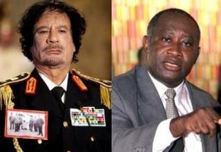 Muammar Qaddafi; Laurent Gbagbo (Getty Images)