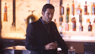 Lucifer (Tom Ellis) in his bar in the season two premiere. All images: Michael Courtney/FOX ©2016 Fox Broadcasting Co.