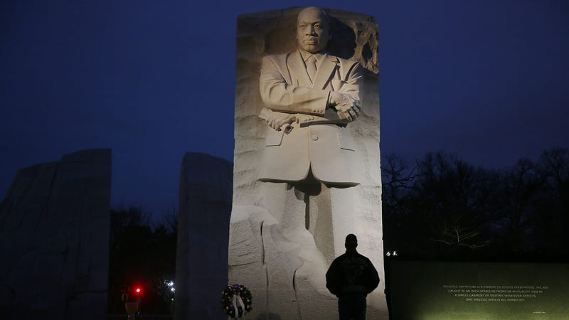 Keith Andrews visits the Martin Luther King, Jr. Memorial on the day that honors him on Jan. 16, 2017, in Washington, D.C. Martin Luther King Day is a national holiday that observes the birthday of the civil rights icon and is a way to remember all that he accomplished. (Joe Raedle/Getty Images)