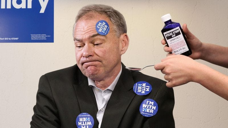 Illustration for article titled Tim Kaine Forced To Drink Ipecac After Eating Sheet Of 'I'm With Her' Stickers