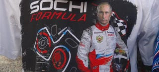 Illustration for article titled Russian Grand Prix At Sochi T-Shirt Pretends Putin Is An F1 Driver