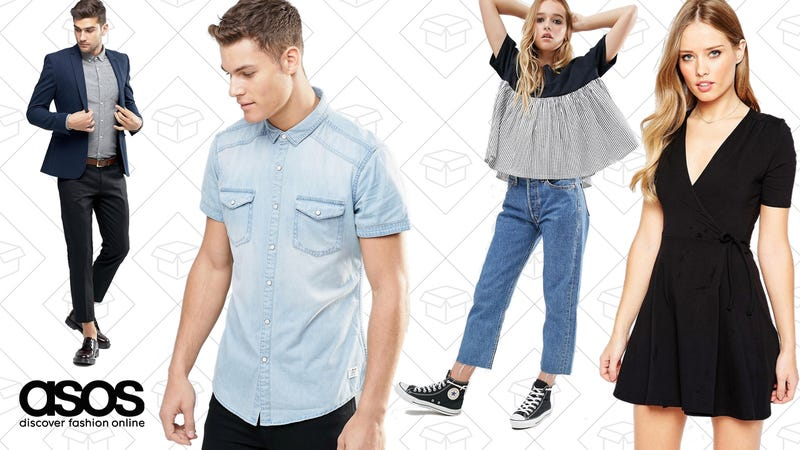 ASOS Super Skinny Blazer in Navy Cotton, $87 | Esprit Short Sleeve Denim Shirt in Light Wash, $36 | Reclaimed Vintage Levis Cut Off Jeans, $66 | ASOS Mini Tea Dress with Wrap Front, $29