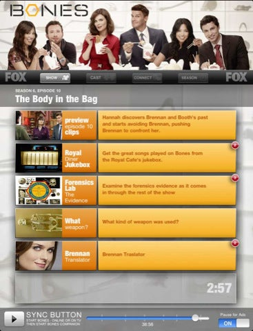 Watch Bones on TV, Follow Along With Your iPad