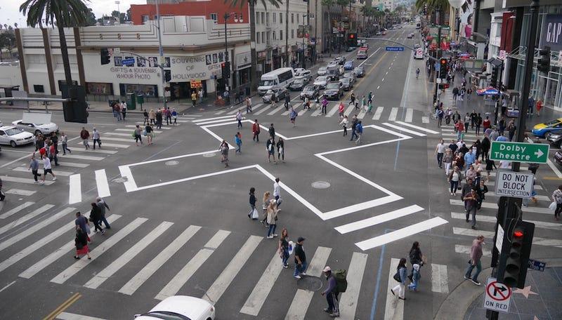 """The """"scramble"""" crosswalk at Hollywood and Highland. (Image: LADOT)"""