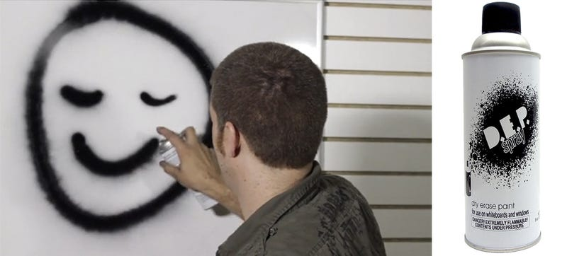 Illustration for article titled Dry Erase Markers in a Can Let You Vandalize White Boards With Abandon