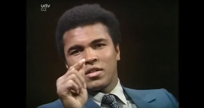 Screenshot of Muhammad Ali during an interview in 1971.UKTV screenshot via YouTube