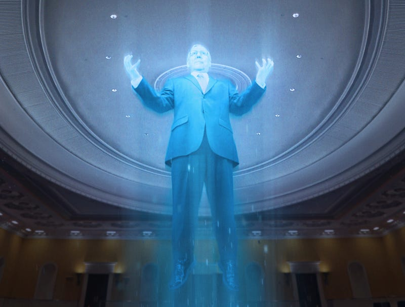 Illustration for article titled Glowing, Cackling McConnell Levitates Above Senate After Realizing Chamber's Rules Only Self-Imposed Mental Construct