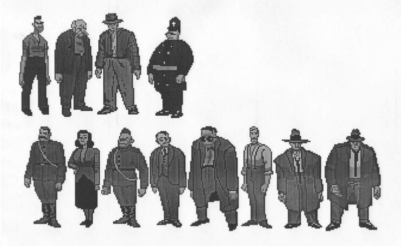 Early designs for the game's main cast.